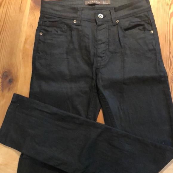 cfb2cbb7 Zara Jeans | Man Black Waxed Cotton Skinny Size 29 | Poshmark